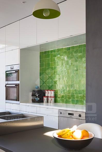 Groene Keuken Muur : groene zelliges, keuken, impermo, marrokaanse tegels, accent muur