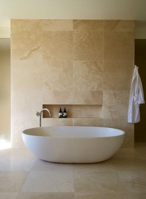 Travertin tegels badkamer vloertegels getrommeld marmer wandtegels badkamer antraciet indoor - Een mooie badkamer ...