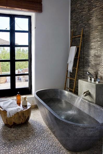 Natuursteen strips - Kleine badkamer zen ...