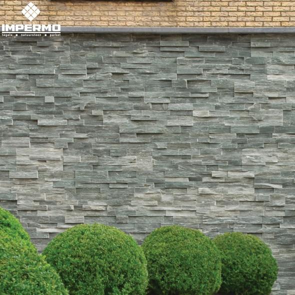 Natuursteen strips muur elegant impressie haard with natuursteen strips muur finest - Modern muur steen ...