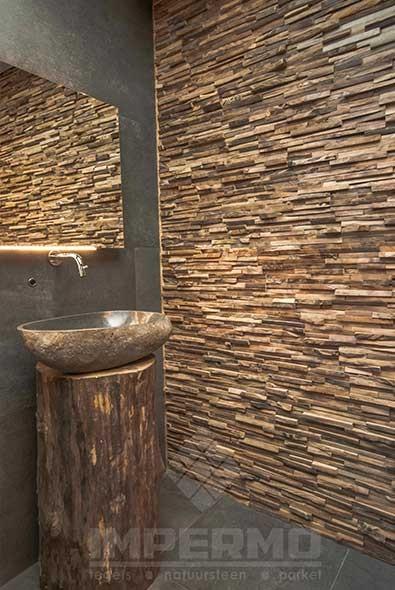 Wandtegels Keuken Natuursteen : Teak Houten Strips Wooden Cladding